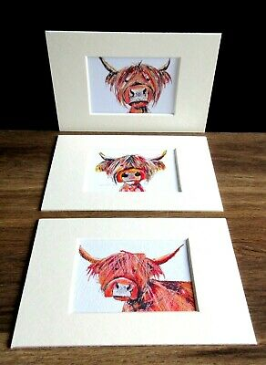 £10.50 • Buy Highland Cows.3 X Mini Art Prints From Original Paintings By Suzanne Patterson.