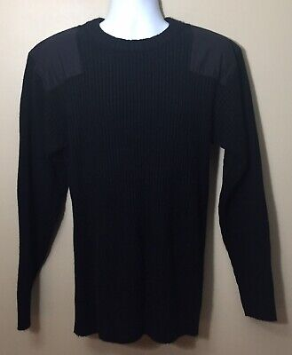 $15.99 • Buy Stauer Size XL Black Military Acrylic Ribbed Sweater Shoulder Elbow Patches