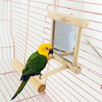 Bird Parrot Budgie Play Toy Mirror With Stands Landing Perches Cage Hanging Toys • 9.78£