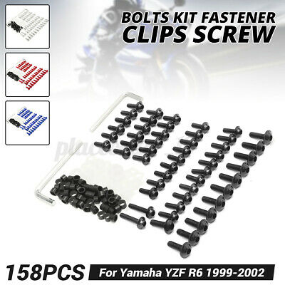 158x Motorcycle Fairing Screw Bolts Clips Kit For Yamaha YZF R6 1999-2002 Blue • 14.68£