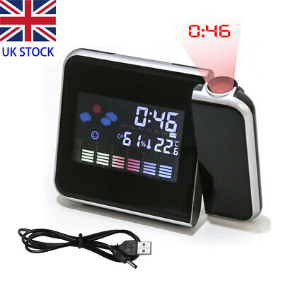 Digital Projection Alarm Clock LED With Temperature Weather Station LCD Display • 9.99£