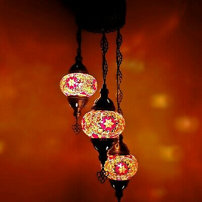 £89.99 • Buy Authentic Turkish Moroccan Glass Mosaic Hanging Lamp Ceiling Light Chandeliers