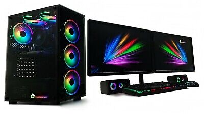 Dual 22  Monitor Gaming PC Setup I7 3770 240 SSD 1TB 16GB Ram GTX 1050Ti 1650  • 689.99£