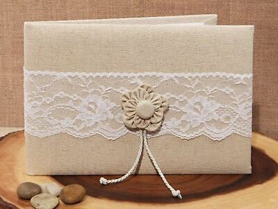 Rustic Burlap And Lace Wedding Guest Book With Flower Design| Wedding Stationary • 23.49£