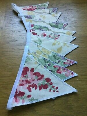 Laura Ashley Wisteria Cranberry Fabric Handmade Bunting 10 Flags • 19.95£