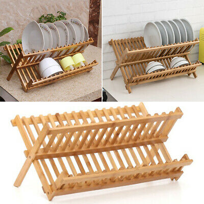 Bamboo Wooden Draining Rack Dish Drainer Plate Folding Washing Up Counter Sink • 10.95£