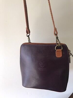 REAL Leather Plum Shoulder Bag With Tan Strap From Italy Worn Once • 22.99£