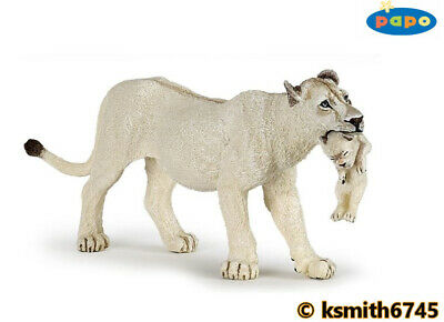 £7.65 • Buy Papo WHITE LION & CUB Solid Plastic Toy Wild Zoo Animal Lioness Cat * NEW *💥