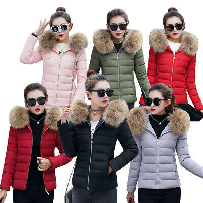 Womens Ladies Quilted Winter Coat Puffer Fur Collar Hooded Jacket Parka Outwear • 16.99£