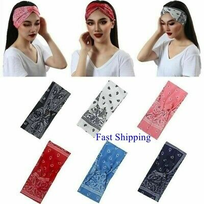 $6.86 • Buy Bandana Headband  Elastic Silky Hairband Women Fashion Yoga Sport Soft Head Wrap
