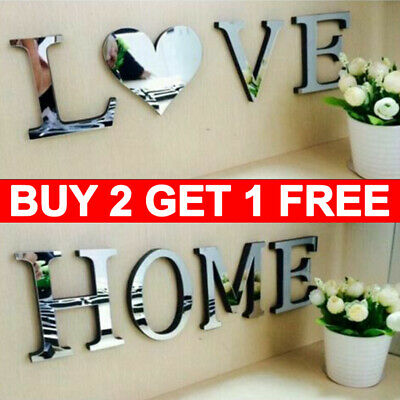 4 Letters Love Home Furniture Mirror Tiles Wall Sticker Self-Adhesive Art Decor • 4.99£