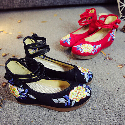 £12.99 • Buy Women Handmade Chinese Embroidered Flower Shoe Mary Janes Wedge Mid Heels Shoes