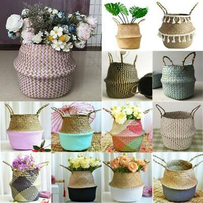 Seagrass Belly Woven Basket Plants Flower Storage Pots Bag Wickerwork Home Decor • 8.99£