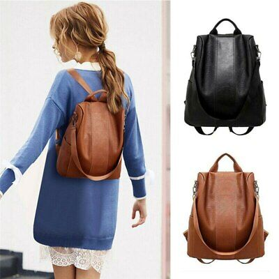 AU24.96 • Buy Women's Leather Backpack Large Capacity School Bag Teenager Anti Theft Backpack
