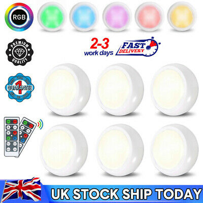 6Pack RGB Cabinet Lights LED Spot Battery Operated Nightlight + Remote Control • 12.89£