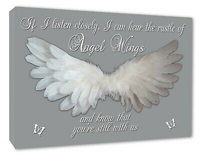 Angel Wings Picture Angel Wall IF I Listen Closely Quote Canvas Print Grey A1+ • 13.99£