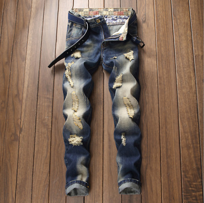 $30.68 • Buy Mens Ripped Jeans Frayed Distressed Denim Pencil Pants Casual Skinny Trouser US