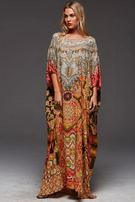AU299.99 • Buy NEW W/TAGS CZARINA DANCE TO CELEBRATE ROUND NECK SILK CRYSTALS KAFTAN Rrp $449