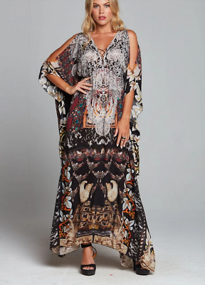AU199.99 • Buy NEW W/TAGS CZARINA ENCHANTED LONG LACE UP KAFTAN CRYSTALS SILK  Rrp $249