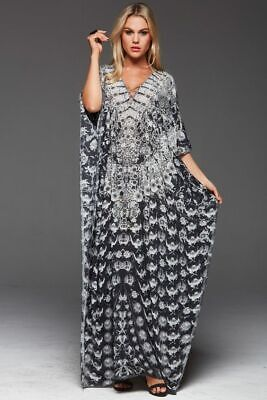 AU299.99 • Buy NEW W/TAGS CZARINA TAKE ME THROUGH THE NIGHT SILK CRYSTALS KAFTAN Rrp $449