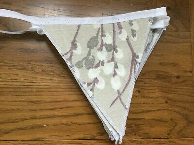 Laura Ashley Pussy Willow Natural  Handmade Bunting 10  Flags • 19.95£