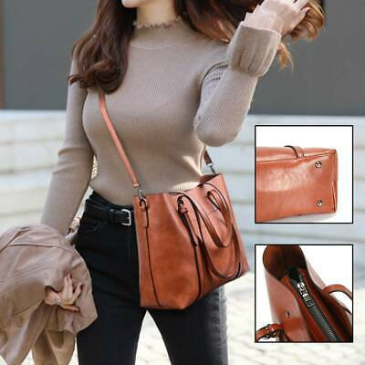 Women's Leather Shoulder Bag School Travel Shoulder Bag Satchel • 6.09£