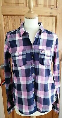 Hollister Ladies Pink Blue Checked Shirt M • 4.99£
