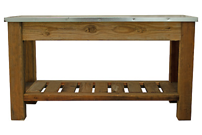 Redwood Patio Console Table & Outdoor Garden Utility Table Stainless Steel Top • 550.98£