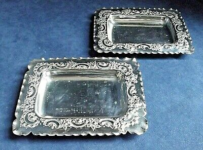 SUPERB Pair 6  ~ SILVER Plated ~ ORNATE Butter / Olive DISHES ~ C1900 By Nixon • 4.95£