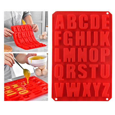 Alphabet Letter Silicone Mould Stencil Cake Jelly Cupcake Ice Chocolate Mold UK • 5.99£