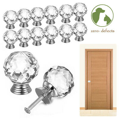 Clear Crystal Diamond Glass Door Knobs Cupboard Drawer Furniture Handle Cabinet  • 7.89£