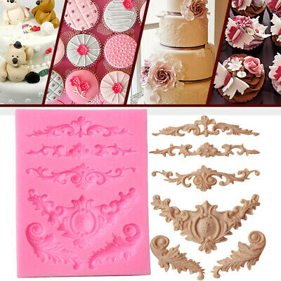 Baroque Sculpted Silicone Fondant Mould Flower Lace Cake Decor Sugar Icing Mold • 2.69£