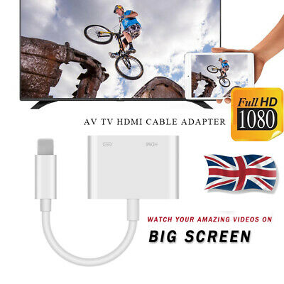 UK IOS To HDMI Digital AV Adapter Cable 1080P Video Converter For IPhone 7 8 11 • 7.65£