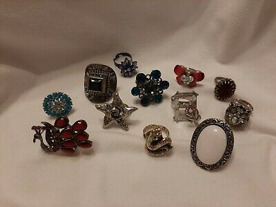 $ CDN32.96 • Buy Jewelry Lot Vintage/Retro Costume Adjustable Size 7 To 8 Cocktail & Finger Rings
