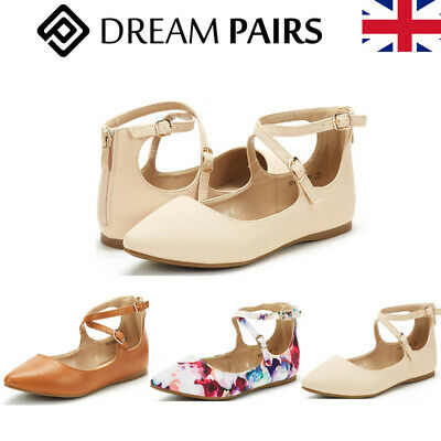 DREAM PAIRS Women Ankle Strap Ballerina Pumps Ladies Flats Slip On Shoes Size UK • 12.99£