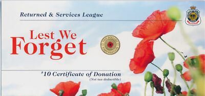 AU7.50 • Buy Australia 2012 $2 RED POPPY RSL $10 Certificate Of Donation CARD ONLY NO COIN