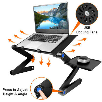 Adjustable Folding Laptop Desk Table Sofa Bed Tray With Cooling Fan Mouse Boad • 15.51£