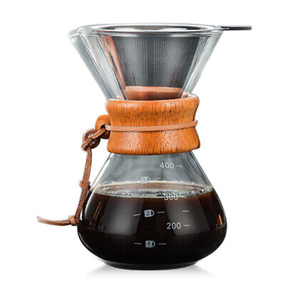 Classic Glass Hand Drip Coffee Maker Pot Pour Over 400ml W/ Filter Coffee Pot • 15.79£