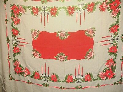 $ CDN20 • Buy X3 Vintage Holiday Tablecloth, Christmas, Candles & Poinsettia, 56 X 72 Inches