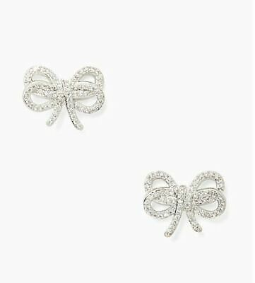 $ CDN53.50 • Buy NWT Kate Spade Bow Meets Girl Pave Rhodium Plate Studs Earrings + Dust Bag $49