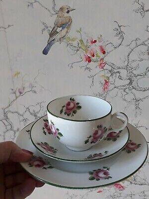 £8.90 • Buy Crown Staffordshire Bone China Trio Cup Saucer Plate Pink Rose