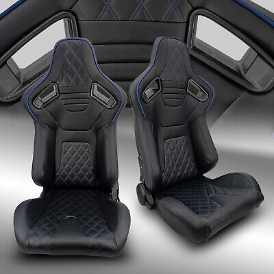 $330.69 • Buy 2 X Reclinable PVC Leather/Black Strip Left/Right Racing Bucket Seats Slider