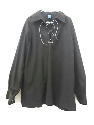 Tunic Shirt With Collar Black UK Size Large • 14.25£