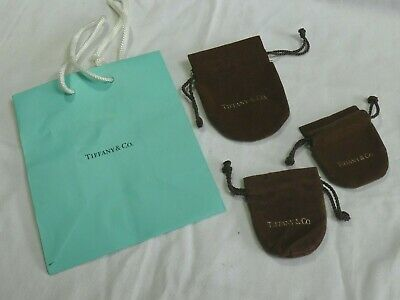 VINTAGE - X3 Tiffany & Co Brown Anti Tarnish Jewellery Bags/Pouches +Paper Bag • 19.99£