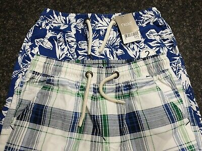 Two Pairs Boys Cotton Checked Floral Shorts Aged 10 Years Bnwt. • 10.50£