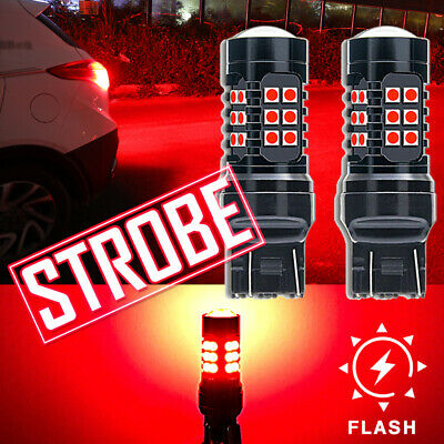 $13.29 • Buy 2x T20 7440 7443 Red LED Strobe Flash Blinking Parking Bulbs Brake Tail Lights