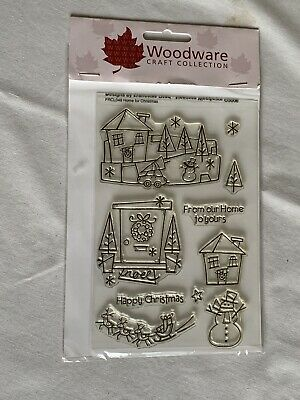 """Woodware Craft Collection """"Home For Christmas"""" Clear Stamp Set FRCL049 • 2.13£"""