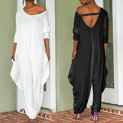Women Casual Harem Loose Jumpsuit Long Sleeve V Neck Rompers Irregular Playsuit • 7.99£