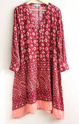 AU45 • Buy BOHEMIAN TRADERS Size M (12) Red Embossed Geometric Print A-Line DRESS