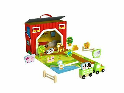 £19.50 • Buy Child's Wooden Barn Tractor Farm Yard Characters Play Box Set Toy